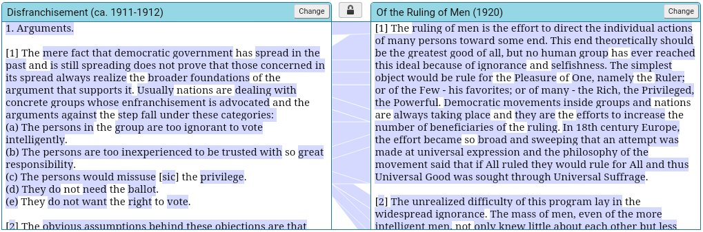 Du Bois's 'Disfranchisement' collated with 'Of the Ruling of Men' (Juxta collation software)